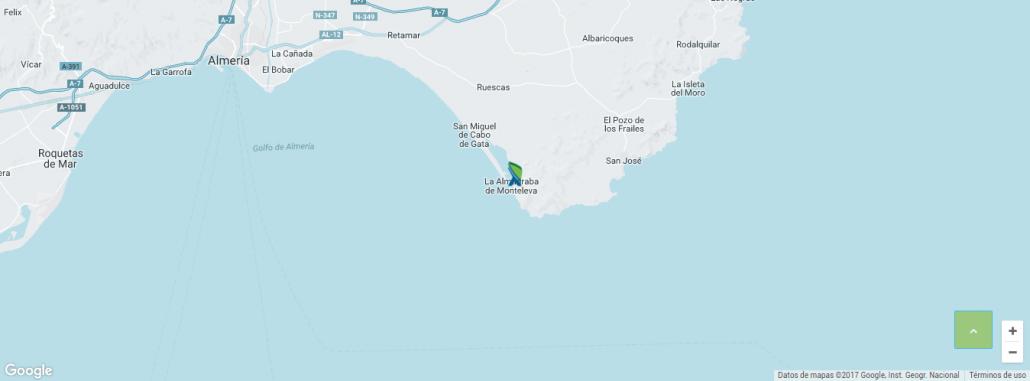 recorrido ruta kayak cabo de gata la fabriquilla arrecife de las sirenas