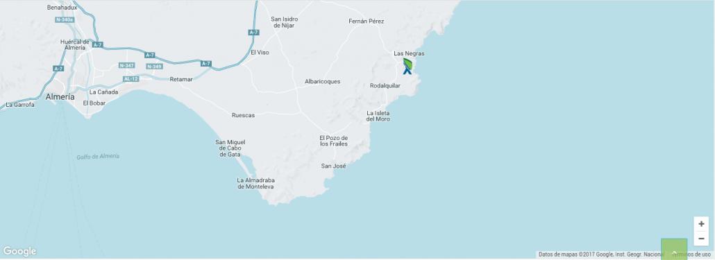 recorrido ruta kayak cabo de gata las negras
